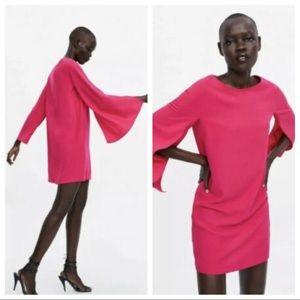 Zara Cape Sleeve Dress Pink